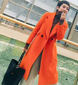 Winter double-side slim looking cashmere long coat China garment manufacturer