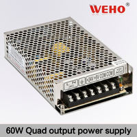 import cheap goods 60W Quad output switch input 12vdc high voltage power supply