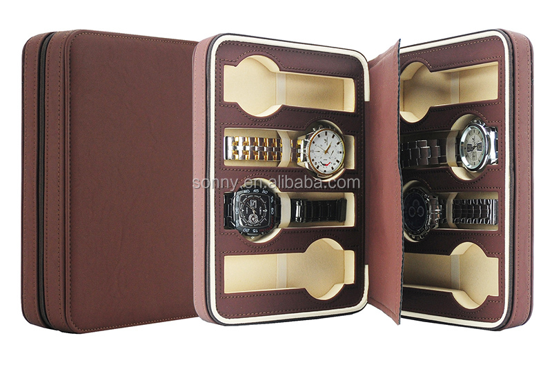 Available Stock Acrylic Window 10 Slots Leather Watch Box