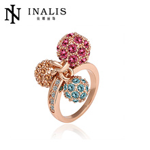 Lovely Three Balls Crystal Ring, 18K Gold Plating CZ Ring