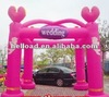 Pink romantic inflatable wedding arch columns