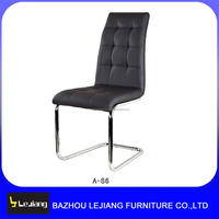 hot sale black pu with chromed tube high back dining chair