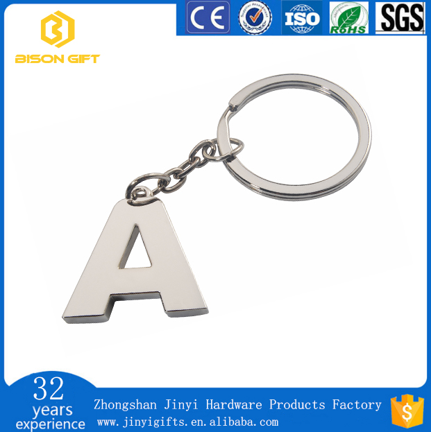 New arrival Free artwork and free sample of letter metal keyring