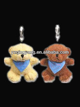 Wholesale promotional gifts cheap and cute stuffed soft plush bear keychain toy with triangle