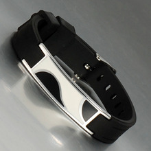 China factory fashion black negative ion silicone bracelet