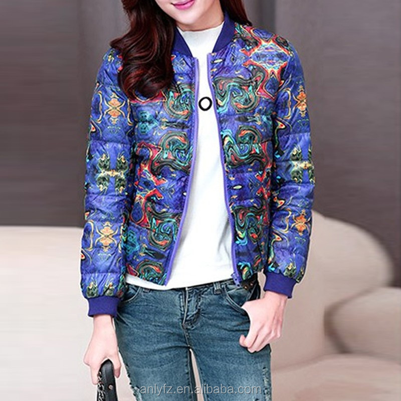 fashion joint art print slim women long sleeve short down coat