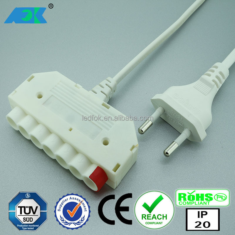 European design OD7.6mm high voltage connector 230V 2.5A TUV connecting system female connector plug black furniture marketplace