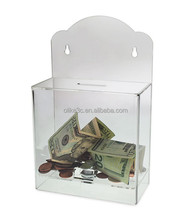 Wholesale Wall Mount Cheap Acrylic Donation Box with Lock