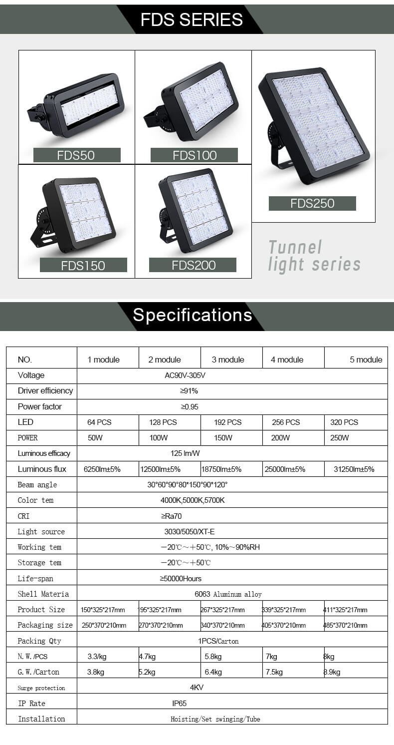 Outdoor ip65 50W 100W 150W 200W 250W time led tunnel light