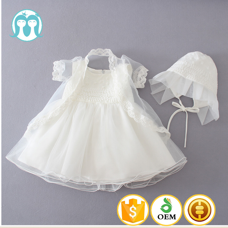baby girls little dress hat white lace Jesus baptism dress boys and girls clothes infants