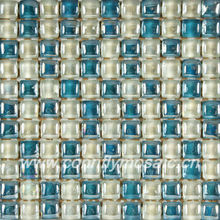 Round Bread Lake Blue Mosaic Rainbow Color Glass Tiles