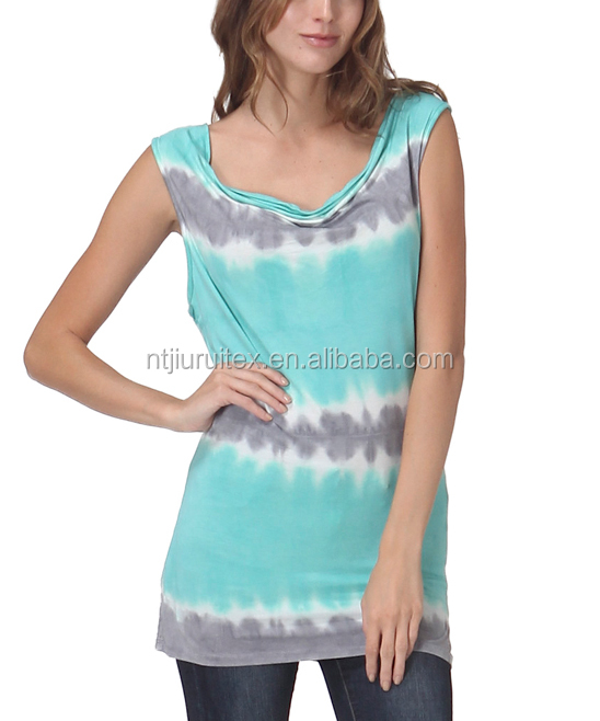 Mint & Gray Tie Dye Sleeveless Top