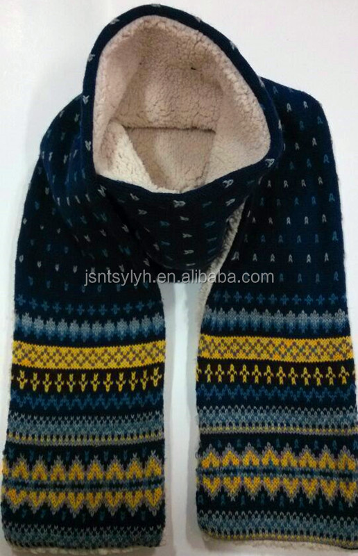 Hot sale jacquard Knitted Winter Scarf with chenille linner