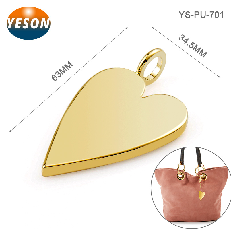 Heart Shape With Loop Fashion Metal Bag Hardware Tag