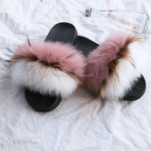 Factory wholesale long hair raccoon fur slippers soft real fox fur slides for women
