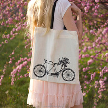 Custom Black handle natural color cotton summer shopping bag