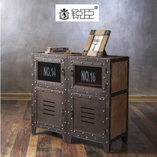 Retro style shop antiqued display cabinet wood decorative storage cabinet