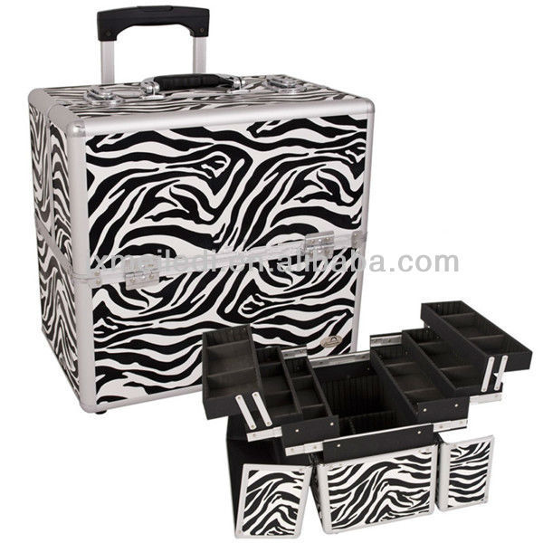 MLD-TC64 zebra-stripe PS double open rolling make up cosmetic case with trolley