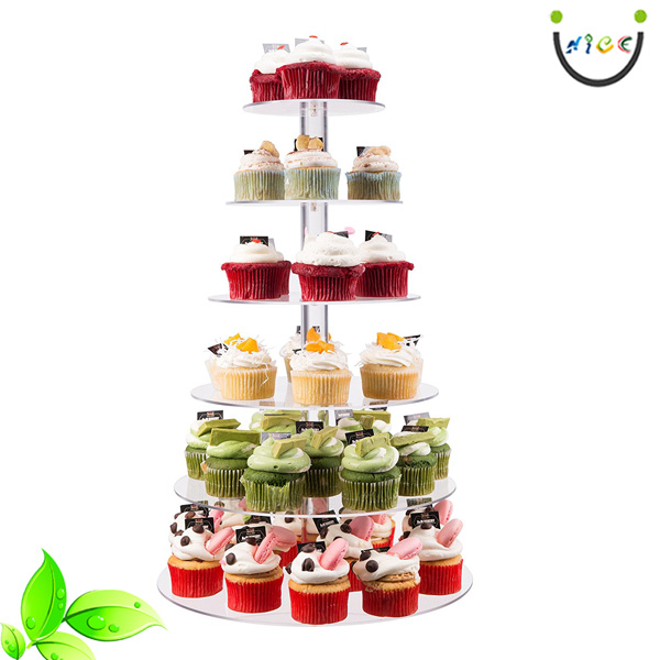 6 Tier Round Wedding Party Tree Tower Plastic Crystal Acrylic Cupcake Display Stand Acrylic Cupcake Rack