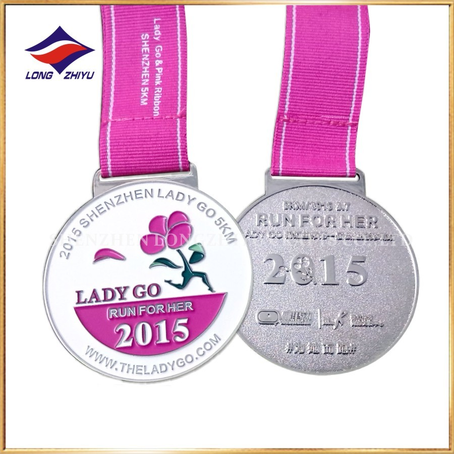 Lady Go 5K Marathon Running Finisher Enamel Medal With Custom Logo