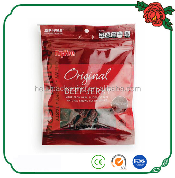 free sample new product printed beef jerky pouch with zipper customized