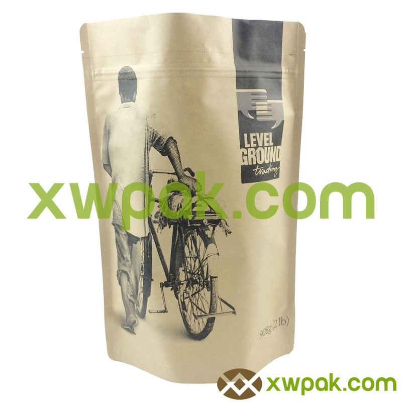 custom kraft paper bags for beef /snack food with window/ front clear back silver flat bag