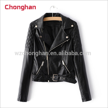 Chonghan 2017 Fashion High Quality Black Winter Ladies Leather Jackets Coats