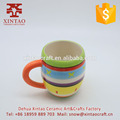 High quality hand painted colorful pattern ceramic coffee mug with handle