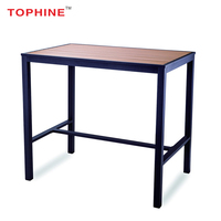 TOPHINE Furniture Outdoor Aluminum Frame Plastic Wood Top Long Bar Height Table
