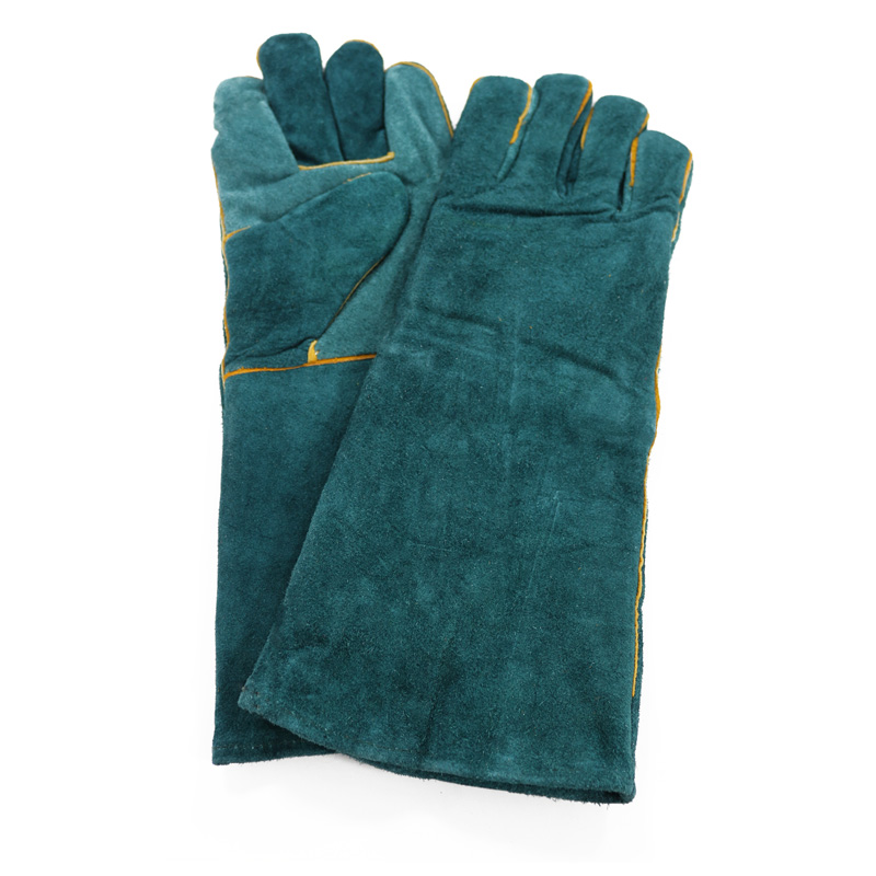 Sanjian 16inch green color cow split welding gloves with lining