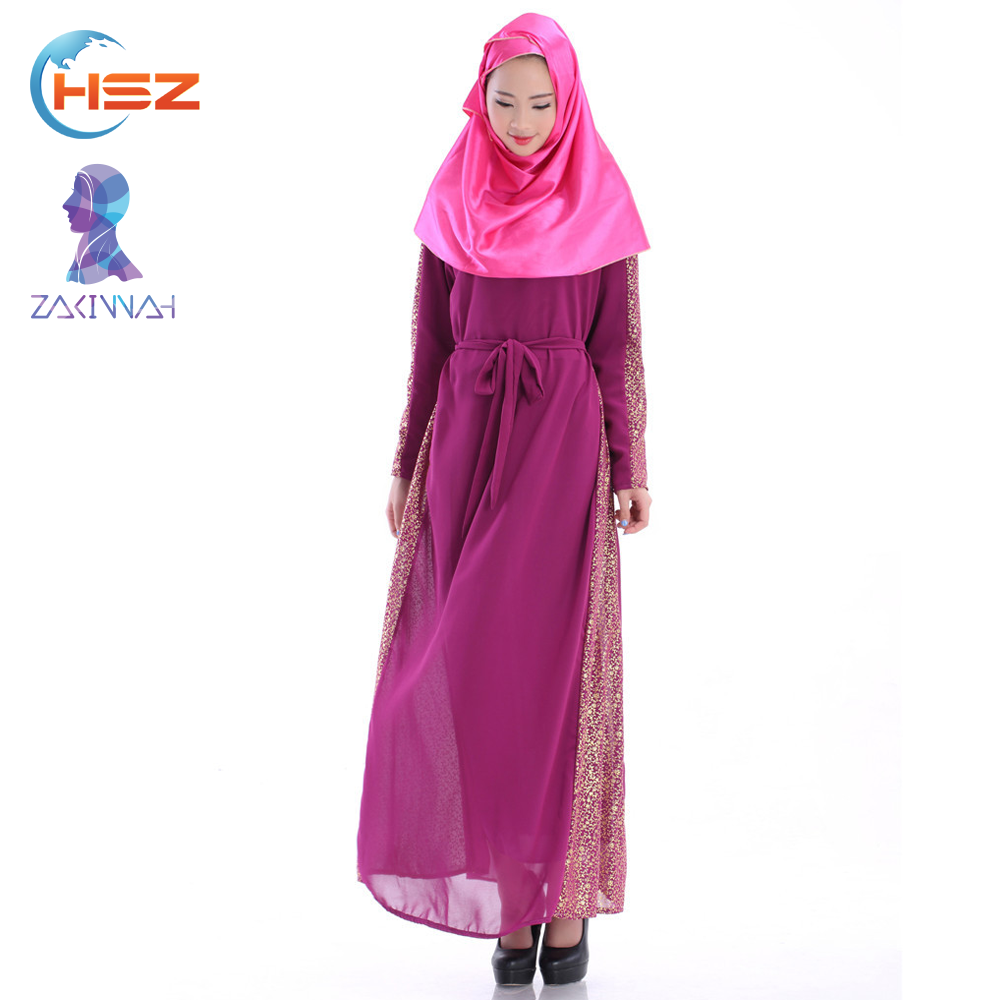 Zakiyyah 60014 2017 Casual Beautiful Simple Pattern Style Long Muslim Abaya Girls Dress