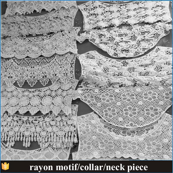 Cheap Price Embroidery/chemical/neck/collar/ lace motif/garment cooperator