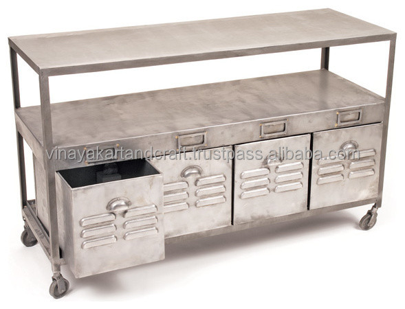 vintage industrial console table antique look metal base tables glass top with shelf
