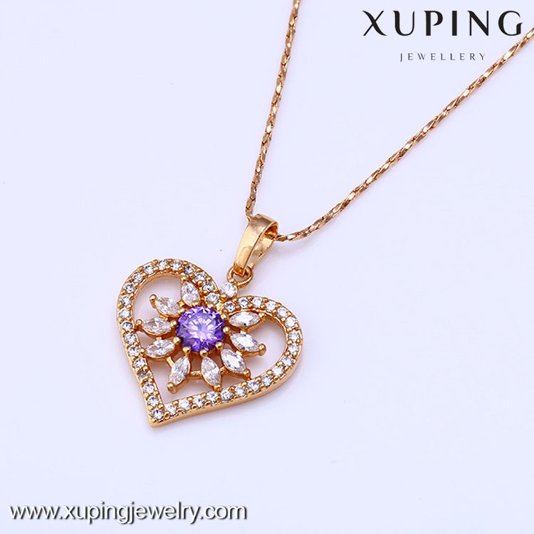 31430 Hot sales popular 18k gold color with zircon heart pendant
