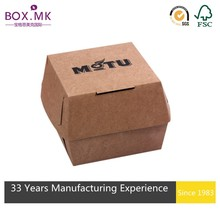 Wholesale Handmade Printed With Your Logo Square Brown Kraft Paper Burger Box