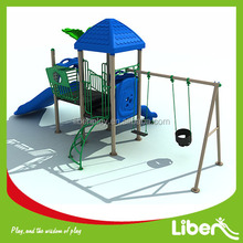 Custom Preschool Children Plastic Outdoor Playground Swing with Slide Set