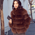 CX-G-A-121C Finland Whole Skin Fox Fur Overcoat Jacket Women Genuine Fur Coat