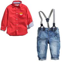 d95840t europe fashion children boys long sleeve shirt suspenders jeans clothes suit for child
