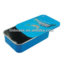 Mini bule sliding lid tin can