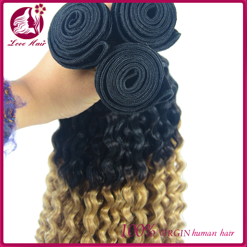 Chinese Virgin jerry curly Hair weft, Ombre Color #1b/27 hair bundles, Human Hair weaving