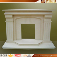 Hand carved cheap indoor marble stone fireplace mantel shelves for home decorative