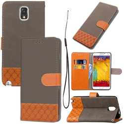Wallet Flip Denim PU Leather & TPU Protective Phone Cover Case For Samsung Note3