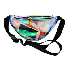Hot rainbow punk chic hologram purse fashion funny women waterproof transparent beach PVC ladies laser shoulder waist bag