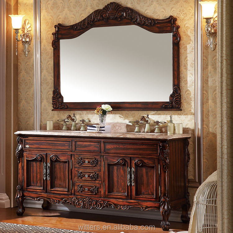 WTS-8122 72 inch classic and elegant bath furniture double sinks dark wood bathroom vanity cabinets free sample