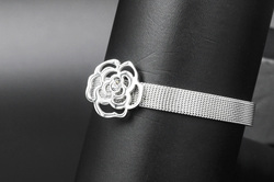 Fashion stainless steel silver color rose model expandable leather bracelets with AAA zircon