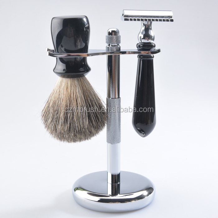 Latest arrival black resin handle pure badger hair men shaving brush set
