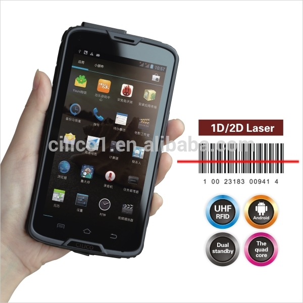 "pda mobile cilico 5"" android rugged smartphone with barcode with nfc huhf rfid reader nfc pos terminal pda with android os"