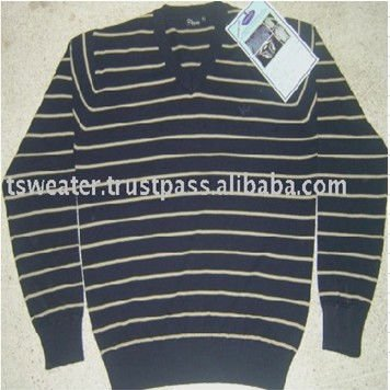 100% Cotton Knitted Fashion Striped Sweater for Men
