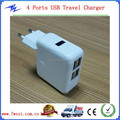 Customized 4 Port USB Wall Charger ,4 Port USB Travel Charger with US/EU/UK/AU Plug