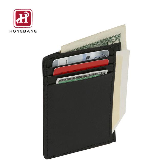 Slim Leather Credit Card Holder Minimalist Money Clip Front Pocket Wallet